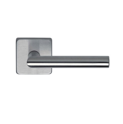 Omnia 12S Stainless Steel Door Lever Latchset with Square Rose