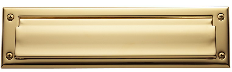 Baldwin 0012 Single Flap Letter Box Plate in Lifetime Polished Brass (003)
