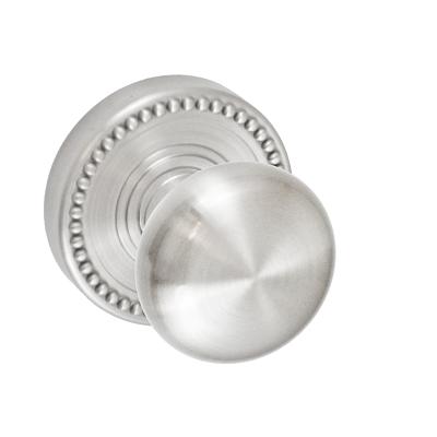 Fusion Half-Round Door Knob 01 with Beaded Rose Brushed Nickel (BRN)