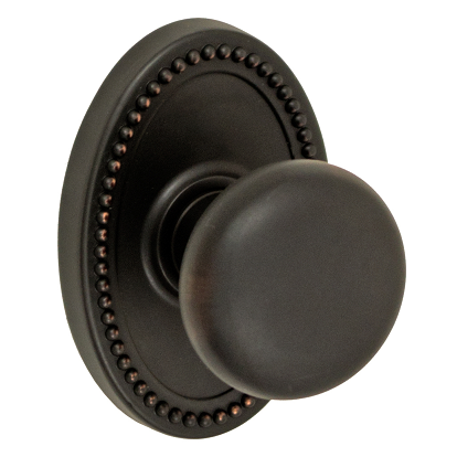 Fusion Half-Round Door Knob 01 with Oval Beaded Rose Oil Rubbed Bronze (ORB)