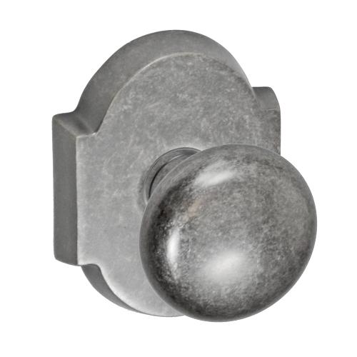 Fusion Half-Round Door Knob 01 with Beveled Scalloped Rose Antique Pewter (ATP)