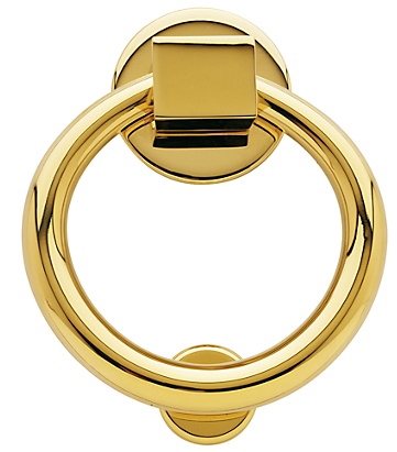 Baldwin 0195 Ring Knocker in Lifetime Polished Brass (003)