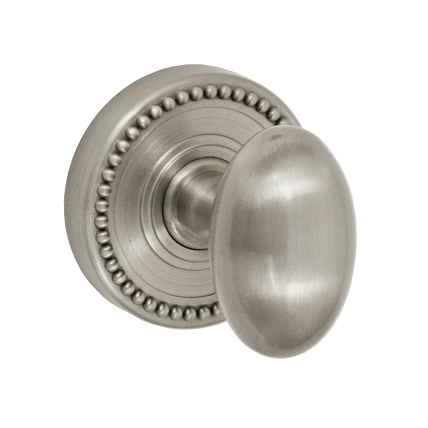 Fusion Decorative Collection Egg Door Knob 02 with Beaded Rose Brushed Nickel