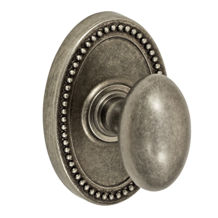 Fusion Egg Door Knob 02 with Oval Beaded Rose Antique Pewter (ATP)