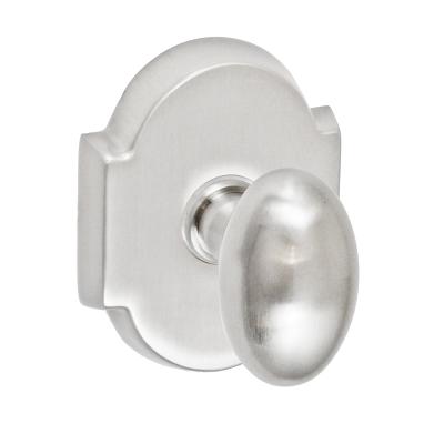 Fusion Egg Door Knob 02 with Beveled Scalloped Rose Brushed Nickel
