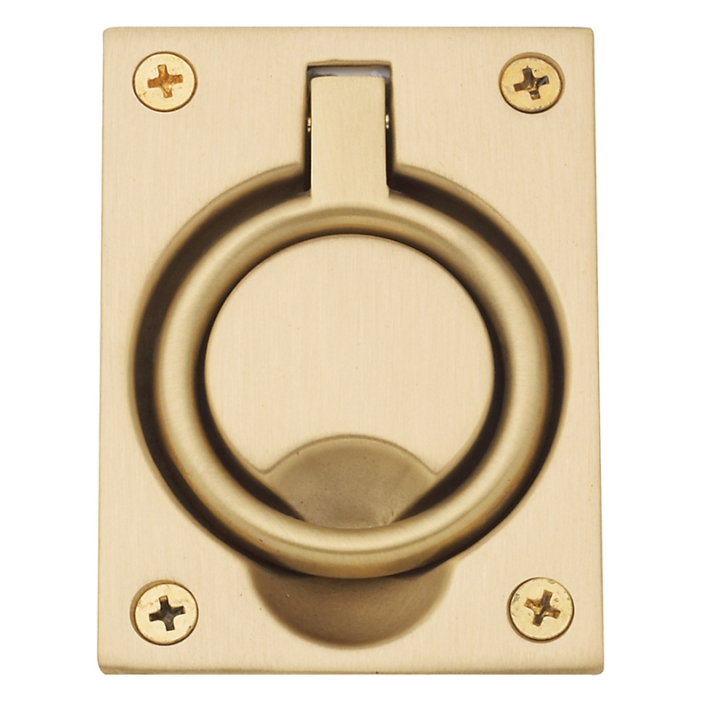 Baldwin 0395 Flush Ring Pull in Satin Brass (040)