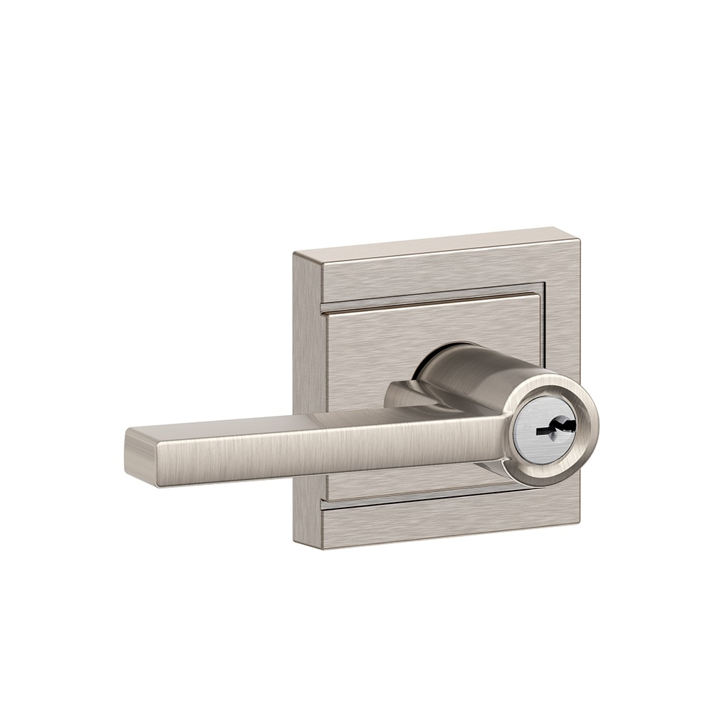 Schlage F51A-LAT-ULD Latitude Keyed Entry Door Lever Set with Upland Rose