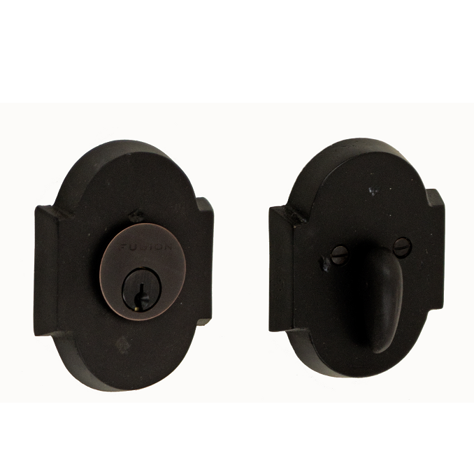 Fusion Sandcast Bronze Small Scalloped Deadbolt 100-A3-DKB