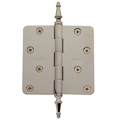 Baldwin Solid Brass Steeple Finial Satin Nickel (150)