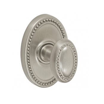 Fusion Beaded Egg Door Knob 10 with Oval Beaded Rose Brushed Nickel (BRN)