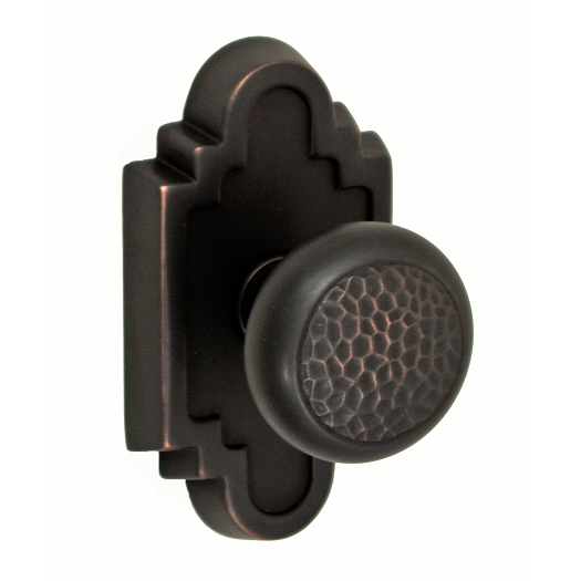 Fusion Navajo Hammered Half-Round Door Knob 13 with Navajo Stepped Scalloped Ros