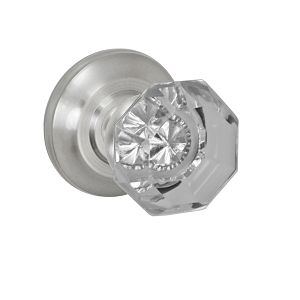 Fusion Elite Victorian Clear Glass Knob 16 with Cambridge Rose Brushed Nickel