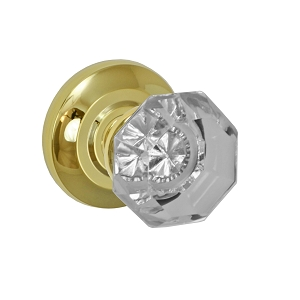 Fusion Elite Victorian Clear Glass Knob 16 with Cambridge Rose PVD Brass