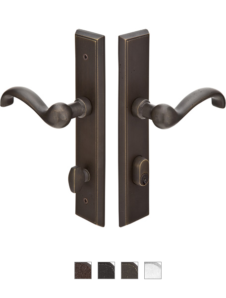 Emtek 1661 Configuration #6 SandCast Bronze RECTANGULAR Style Multi-Point Trim f