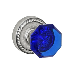 Fusion Elite Victorian Cobalt Glass Knob 23 with Rope Rose Antique Pewter