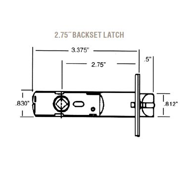 Baldwin Estate 5525 Lever Strength Passage Latch with 2-3/4
