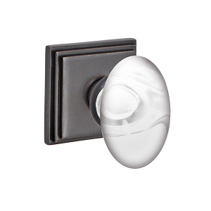 Fusion Clear Glass Egg Knob with Square Stepped Rose Oil Rubbed Bronze