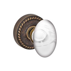 Fusion Elite Clear Glass Egg Door Knob with Rope Rose Medium Bronze