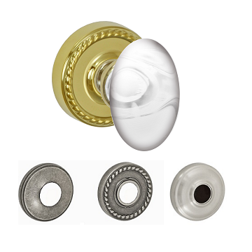 Fusion Elite Clear Glass Egg Door Knob with Rope Rose PVD Brass