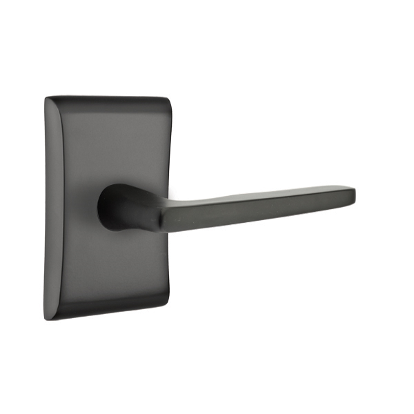 Emtek Brass Hermes Door Lever Set with Neos Rose Flat Black