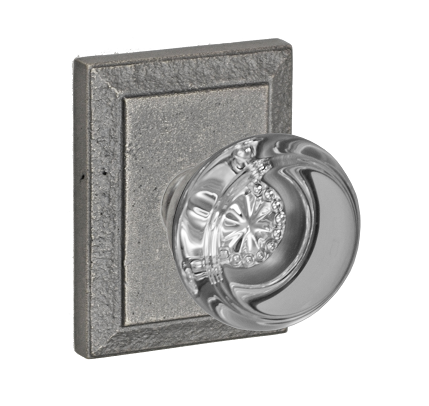 Fusion Flat Iron Glass Door Knob with Ahwahnee Rose Relic Pewter