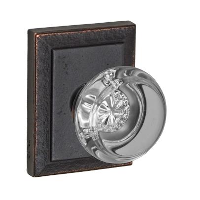 Fusion Flat Iron Glass Door Knob with Ahwahnee Rose Dark Relic Bronze