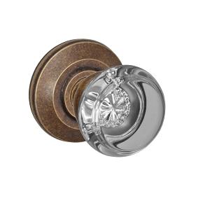 Fusion Elite Flat Iron Glass Door Knob 29 with Cambridge Rose Medium Bronze