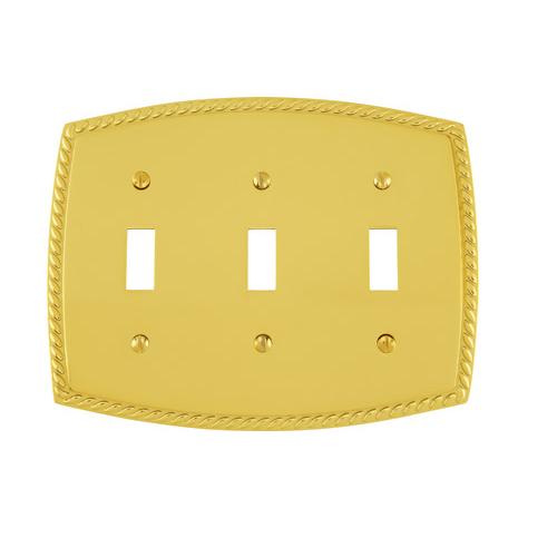 Emtek 29213 Rope Toggle 3 Switchplate Lifetime Polished Brass (PVD)