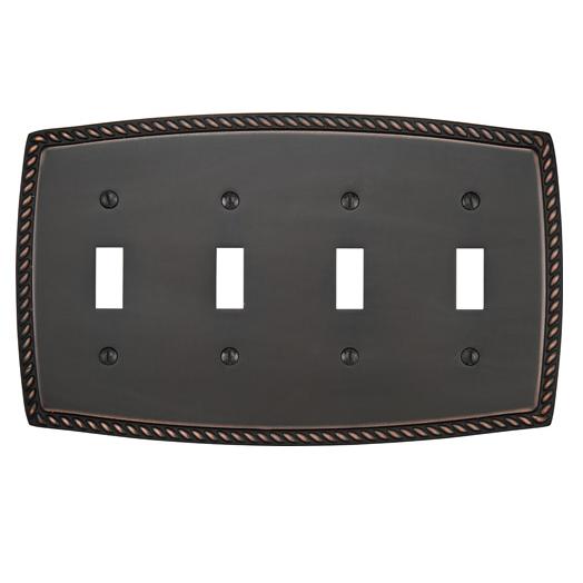 Emtek 29214 Rope Toggle 4 Switchplate Oil Rubbed Bronze (US10B)