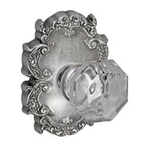 Fusion Bella Villa Motif Glass Knob with Victorian Rose Antique Pewter