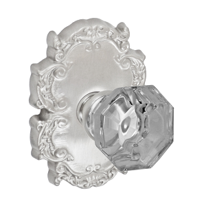 Fusion Bella Villa Motif Glass Knob with Victorian Rose Brushed Nickel