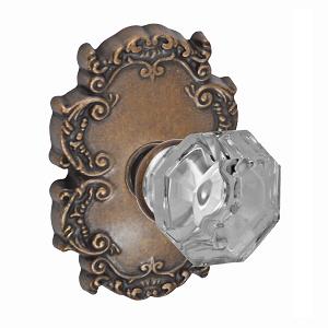 Fusion Bella Villa Motif Glass Knob with Victorian Rose Medium Bronze