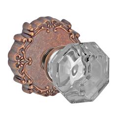 Fusion Bella Villa Motif Glass Knob with Round Victorian Rose Antique Copper