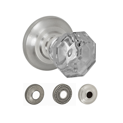 Fusion Elite Motif Glass Door Knob with Cambridge Rose Brushed Nickel (BRN)