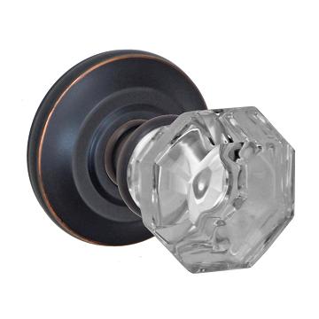 Fusion Elite Motif Glass Door Knob with Cambridge Rose Oil Rubbed Bronze