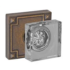 Fusion Square Glass Door Knob with Sonoma Rose Medium Bronze (MDB)