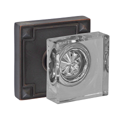 Fusion Square Glass Door Knob with Sonoma Rose Oil Rubbed Bronze (ORB)