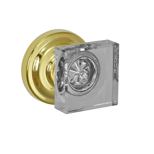 Fusion Elite Square Glass Door Knob with Ketme Rose PVD Brass