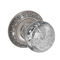 Fusion Decorative Fleur Glass Door Knob with St. Charles Rose Antique Pewter