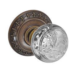 Fusion Decorative Fleur Glass Door Knob with St. Charles Rose Medium Bronze