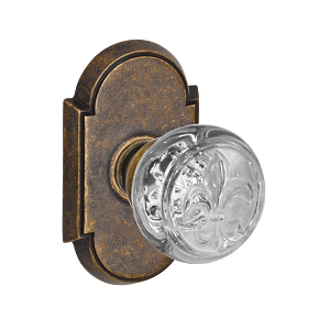 Fusion Decorative Fleur Glass Door Knob with Tarvos Rose Medium Bronze