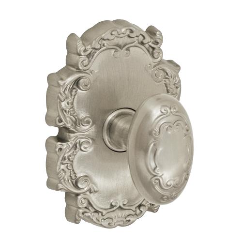 Fusion Bella Villa Scroll Door Knob 34 with Victorian Rose Brushed Nickel