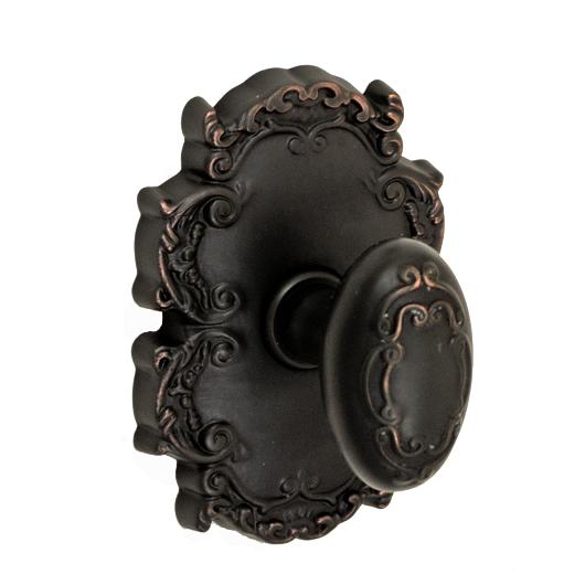 Fusion Bella Villa Scroll Door Knob 34 with Victorian Rose Oil Rubbed Bronze