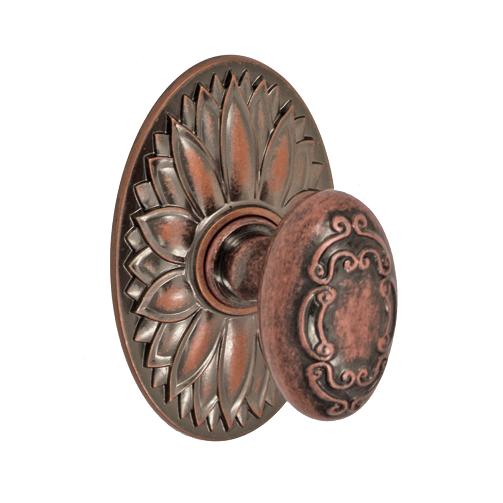 Fusion Bella Villa Scroll Door Knob 34 with Oval Floral Rose Antique Copper