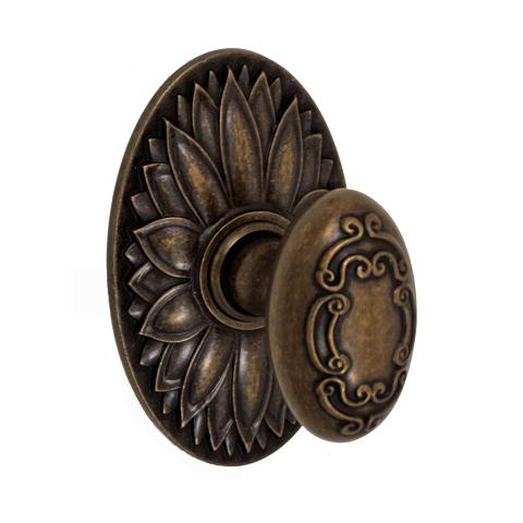 Fusion Bella Villa Collection Scroll Door Knob 34 with Oval Floral Rose Medium