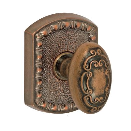 Fusion Bella Villa Scroll Door Knob 34 with Olde World Rose Antique Copper