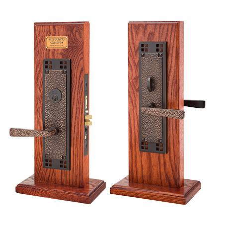 Emtek Craftsman Mortise Entrance Lockset with Hammered Lever oil rubbed bronze