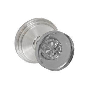Fusion 40 Glass Disk Knob with Stepped Rose Brushed Nickel