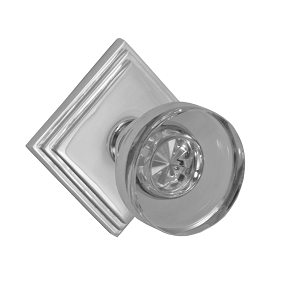 Fusion 40 Glass Disk Knob with Diamond Stepped Rose Polished Nickel
