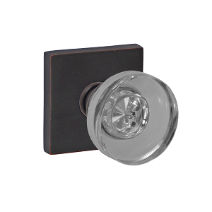 Fusion 40 Glass Disk Knob with Square Rose Oil Rubbed Bronze
